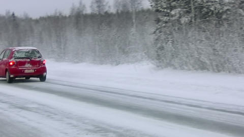 Winter forest road Stock Video Footage