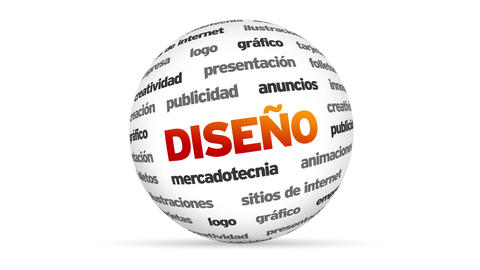 Design 3d Word Sphere (In Spanish) stock footage