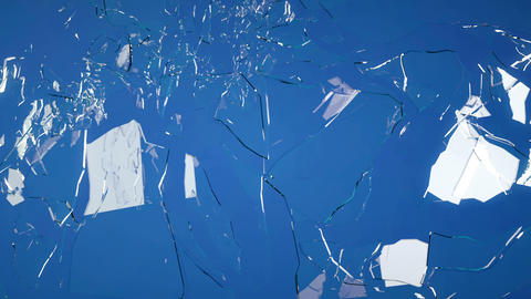 Cracked and Shattered blue glass with slow motion. Stock Video Footage