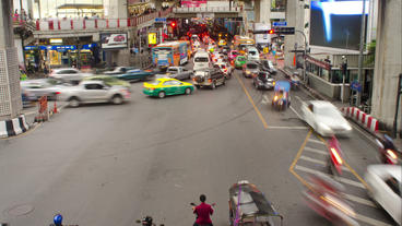 Time Lapse of Traffic on Ratchadamri Road in Bangk Stock Video Footage