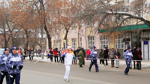 Olympic flame in Yekaterinburg Footage