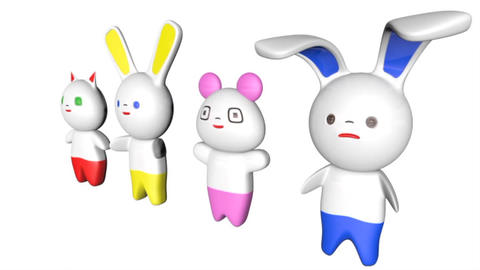 Japanese Style Kawaii Figures 3D Model
