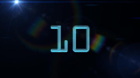 10to 1 countdown blue flare CG動画素材