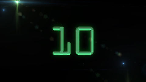 10to 1 countdown green flare Stock Video Footage