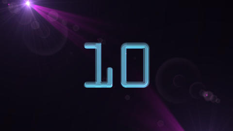 10to 1 countdown purple flare Animation