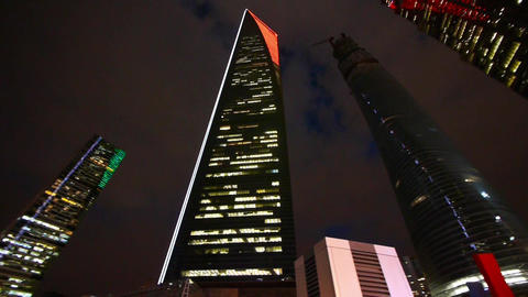 modern urban building,shanghai pudong economic center landmarks at night Animation