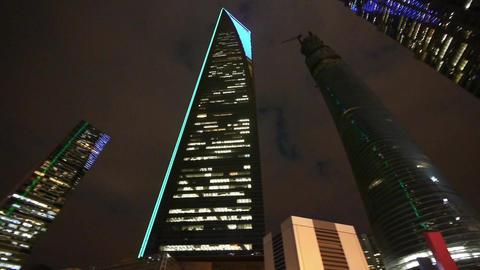 modern urban skyscrapers,shanghai pudong economic center landmarks at night Animation