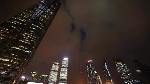 modern urban skyscrapers,shanghai lujiazui economic landmarks at night Animation