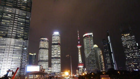 shanghai Brightly lit building & pearl-tower,busy... Stock Video Footage