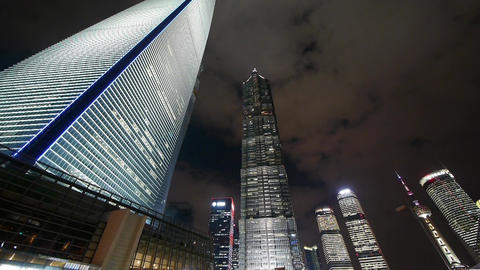 cloud flying shanghai huanqiu skyscraper &... Stock Video Footage