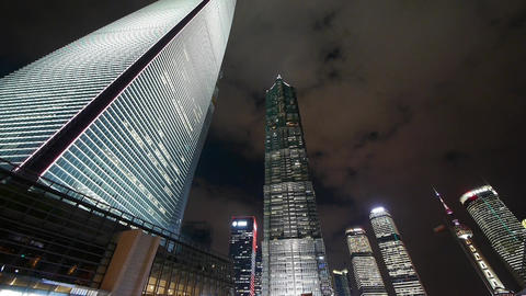 cloud flying shanghai huanqiu skyscraper & pearl-tower at night Animation