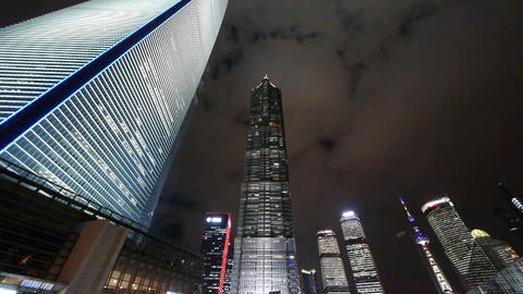 Panoramic of modern urban skyscraper at night,shanghai business hub Animation