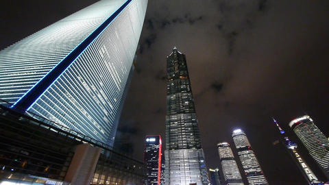 Panoramic of modern urban skyscraper at night,shanghai... Stock Video Footage