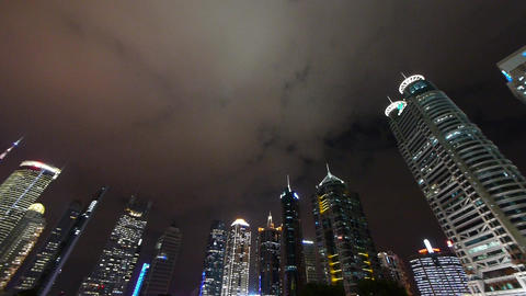 urban building,shanghai pudong business center & pearl-tower at night Animation