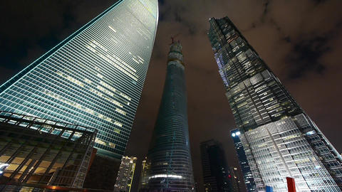 time lapse,clouds passing shanghai finance center... Stock Video Footage