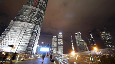 time lapse,busy pedestrian,shanghai finance center &... Stock Video Footage