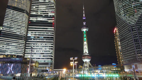 time lapse urban traffic at night,shanghai skyscraper... Stock Video Footage