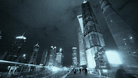 people passing urban business skyscraper at night Animation