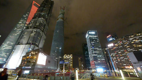 panoramic of urban building,shanghai pudong business center at night Animation