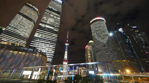 time lapse urban traffic at night,shanghai skyscraper & orient pearl TV towe Animation