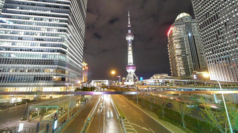 time lapse,busy city traffic & urban finance... Stock Video Footage