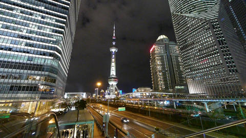 time lapse,city traffic & urban economic skyscraper at night,shanghai China Animation
