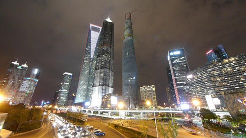 time lapse night illuminated cityscape traffic,shanghai... Stock Video Footage