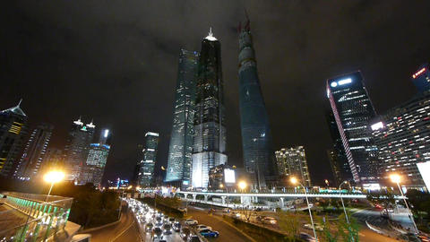 time lapse urban traffic & skyscraper,night... Stock Video Footage