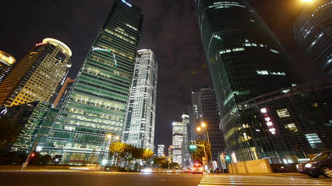 timelapse urban traffic passing skyscraper,night illuminated cityscape,shanghai Animation
