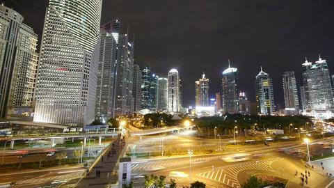 timelapse,Big City traffic & skyscraper at night,fast... Stock Video Footage