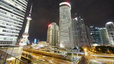 time lapse,shanghai night traffic & skyscraper,moving... Stock Video Footage