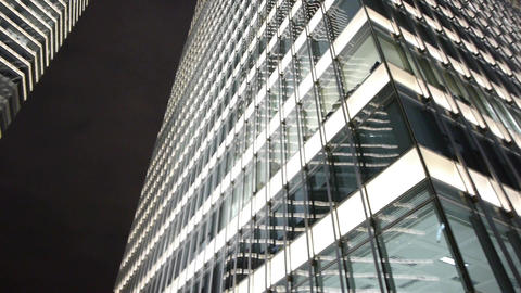 closeup skyscraper at night,urban morden business... Stock Video Footage