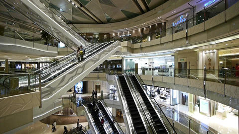 Shopping mall Escalator,shanghai china,ultra wide angle lens Stock Video Footage