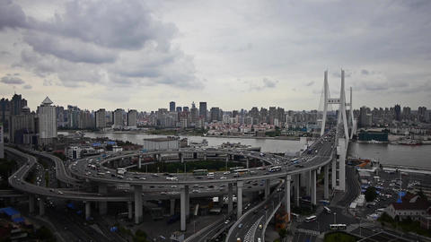 Aerial freeway busy city rush hour heavy traffic jam... Stock Video Footage