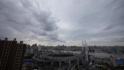 Aerial view of shanghai nanpu overpass traffic interchange Stock Video Footage