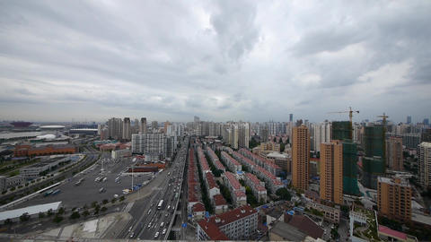 time lapse shanghai traffic,building background,cloudy,china Stock Video Footage