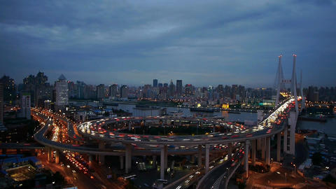 Aerial freeway busy city rush hour heavy traffic jam highway Shanghai timelapse Animation