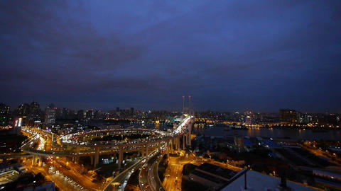 timelapse heavy traffic on Shanghai highway interchange... Stock Video Footage