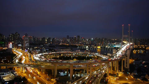 timelapse night heavy traffic on highway... Stock Video Footage