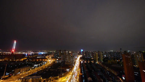 busy urban traffic at night,Brightly lit urban morden... Stock Video Footage