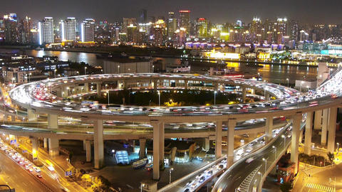 timelapse shanghai traffic on highway interchange at... Stock Video Footage