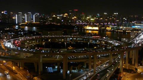 night heavy traffic jam on overpass interchange,Brightly... Stock Video Footage