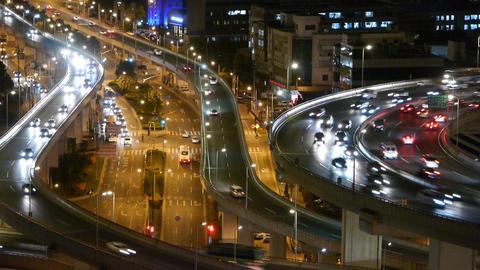 closeup of urban traffic on overpass interchange at... Stock Video Footage