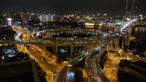time lapse,fast cars on overpass interchange,Brightly lit... Stock Video Footage