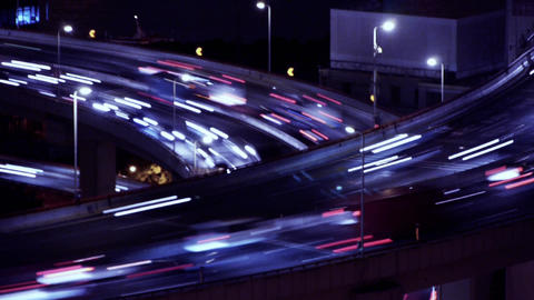 the light trails of fast moving cars on overpass,city traffic,time lapse Animation
