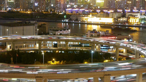time lapse,the light trails of urban traffic on overpass,shipping on river Animation