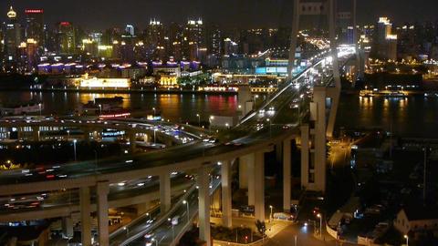 busy urban traffic on shanghai overpass bridge at... Stock Video Footage