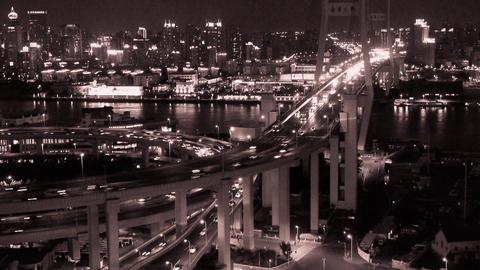 timelapse busy urban traffic on shanghai overpass bridge at night Animation