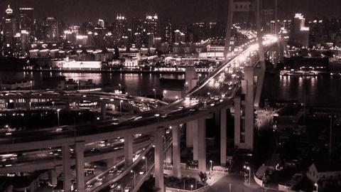 timelapse busy urban traffic on shanghai overpass bridge... Stock Video Footage