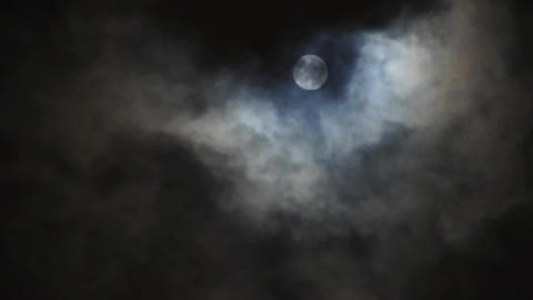 Full moon at cloudy sky,night flight over clouds,time lapse Animation